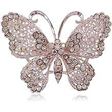 LAAT Broches de Mariposa de Diamante Hueco Elegancia Broche Broche de Piedras Preciosas Artificiales