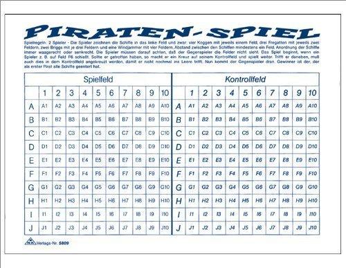 """Spielblock """"Piraten-Spiel / Schiffe versenken"""", 50 Blatt, DIN A5"""