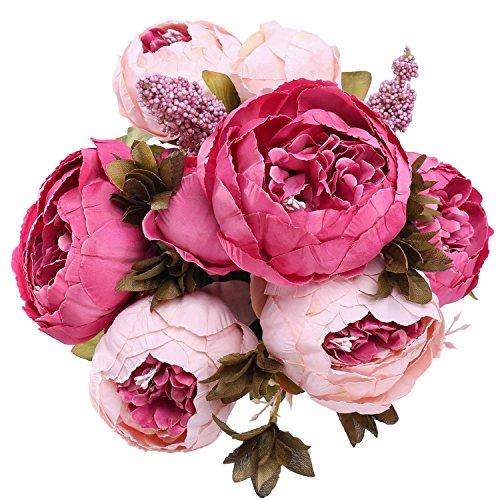 StarLifey Künstliche Blumenstrauß, Kunstblumen Köpfe aus Seide, Bouquet für Zuhause oder als Hochzeitsdekoration Dunkelrosa (Rot In Seiden-blumen Vase)