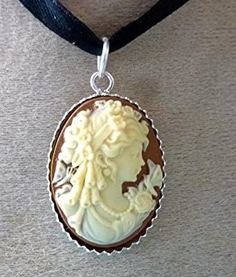 pendentif camée argent 925 jeune fille au papillon bordeaux