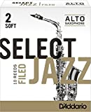 Rico Anches sélectionnées Rico Jazz pour saxophone alto, coupe à la française, force 2-Soft, pack de 10