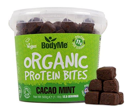 BodyMe Bio Vegane Protein Snacks Bisse   Roh Kakao Minze   500g (12.5 x 40g Portionen)   Mit 3 Pflanze Proteine (Kokosöl Nektar)