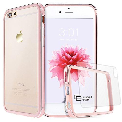 GrandEver iPhone 6/6S Hülle Aluminium Rahmen mit Silikon Bumper + Hart PC Zurück Kombination Transparent Schutzhülle Kratzfeste Handy Hülle für Apple iPhone 6 6S(4.7 Zoll) Handytasche -Rosa (Iphone 6 Rahmen)