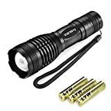 Led Torch Tactical Flashlight, Vansky Pocket Torch 800 Lumen Cree XML2 T6 Adjustable Focus Zoomable Led Light Water Resistant Camping Torch, 3 x AAA Batteries Included