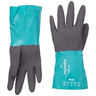 Ansell AlphaTec 58-430 Nitril Handschuhe, Chemikalien- und Flüssigkeitsschutz, Grün, Größe 9 (12 Paar pro Beutel)