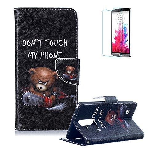 Für LG Stylus 2 LS775/Für LG G Stylo 2 K520 Lederhülle Schutzhülle,Für LG Stylus 2 LS775/Für LG G Stylo 2 K520 Full Body Schutz Tasche Case,Funyye Stilvoll Mode [Bunt Muster] Flip Wallet Case Slim PU Leder Cover Tasche Handy Case Schutz Hüllen im Bookstyle Handyhülle Ledertasche mit Stand Funktion Kartenfächer Magnetverschluss Magnet Etui Schale Schutzhüllen Handytasche für LG Stylus 2 LS775/Für LG G Stylo 2 K520 + 1 x Frei Displayschutzfolie - Braun Bär