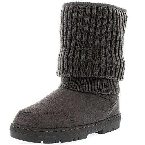 Donna Breve Cardy Maglia Ciondolare Inverno Neve Pioggia Stivali Scarpa Grigio A Maglia