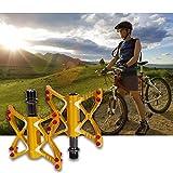 Hakkin Fahrradpedale, Rutschfeste Mountainbike Rennrad Fahrrad Pedale Aluminiumlegierter Stahl Flat-Platform für MTB BMX Fahrradlager-Gold (Gelb)