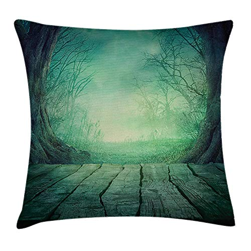 (WYICPLO Gothic Throw Pillow Cushion Cover, Spooky Scary Dark Fog Forest with Dead Trees and Wooden Table Halloween Horror Theme Print, Decorative Square Accent Pillow Case, 18 X 18 inches, Blue)