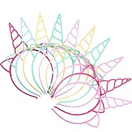 18 Pezzi Plastica Fascia Unicorno Corno di Unicorno Fantasia Vestito Cosplay Forniture per La Decorazione per Festa