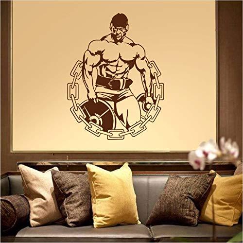Hwhz 44X58 Cm Fitnessstudio Aufkleber Fitness Aufkleber Bodybuilding Iron Man Poster Vinyl WandtattoosDekor Wandbild Fitnessstudio Aufkleber F