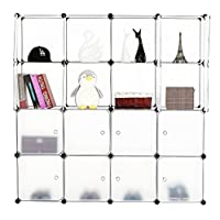 BASTUO Storage Cubes Cabinet DIY Bookcase Shelf baskets Modular Cubes,Closet for toys,Books,Clothes,White with Doors