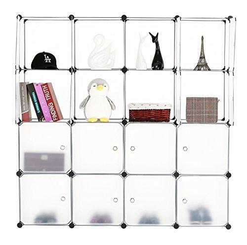 BASTUO Aufbewahrungswürfel Schrank DIY Bücherregal Regal Körbe Modular Würfel Schrank für Spielzeug Bücher Kleidung weiß mit Türen, 16 Cubes -
