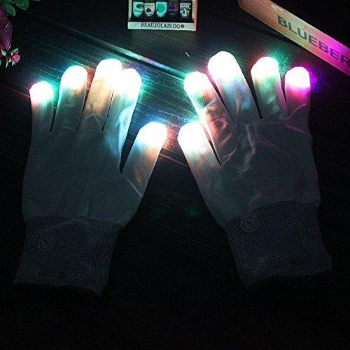 SHTAO Weiße LED Farbe Flash-magischen Handschuh Finger Glühen Handschuhe