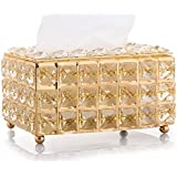 Tissue Case Storage Box Shinning Gold Crystal Paper Container
