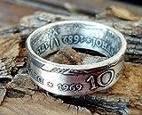 Coinring, Münzring, Ring aus Münze (10 Mark der DDR 1969, 250. Todestag von Johann Friedrich Böttger, 625er Silber - Double Sided coin ring - Größe 65 (20.7), handgeschmiedetes Unikat