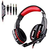 EasySMX PS4 Tablet PC Andriod iPhone 6/6s/6 plus/5s/5c/5 3.5mm game Stereo Gaming Headset with Mic LED Lighting Noise Cancellation and In-line Controller (Black and Red)