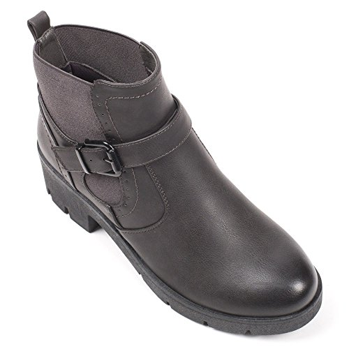 Ideal Shoes - Bottines style chelsea avec ceinturon Julienne Gris