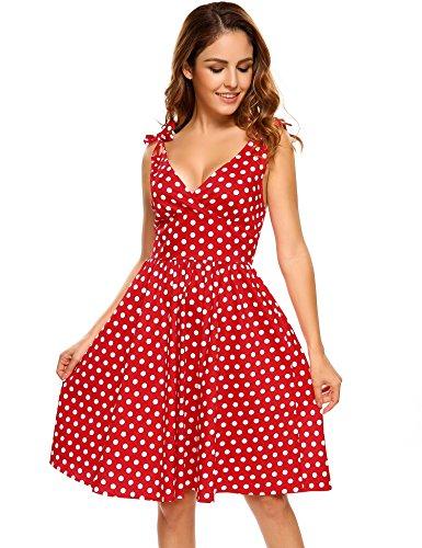 ACEVOG Damen Vintage Rockabilly Trägerkleider Sommerkleider Elegante Festliche Partykleider Cocktailkleider Polka Dots Blumenmuster 2-Rot mit Weiß Dot