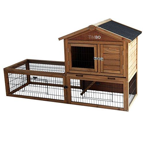 Conigliera Lilly in legno con recinto, 151x49x90 cm, stalla per piccoli animali, stalla per animali domestici
