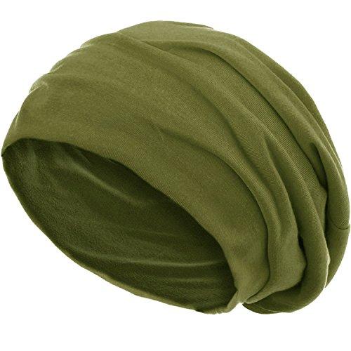 style3 Slouch Beanie aus atmungsaktivem, feinem und leichten Jersey Unisex Mütze Haube Bini Einheitsgröße, Farbe:Oliv