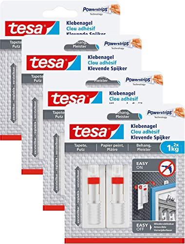 tesa Verstellbarer Klebenagel für Tapeten und Putz/Selbstklebender Nagel von tesa Powerstrips / 8 x 1 kg Halteleistung -