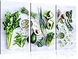 Grüne Gemüse Obst Vielfalt 3-Teiler Leinwandbild 120x80 Bild auf Leinwand, XXL riesige Bilder fertig gerahmt mit Keilrahmen, Kunstdruck auf Wandbild mit Rahmen, gänstiger als Gemälde oder Ölbild, kein Poster oder Plakat