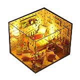 Per Miniature Maison de Poupée en Bois DIY Jeux de Construction Chalet en Bois Mobilier Décoration Fête avec LED Light/Style A