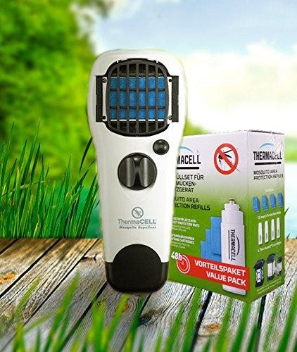 ThermaCell Sorglos Paket 60 Stunden Mückenschutz im Set Handgerät weiß mit Kippschalter MR-WJ und Nachfüllpack R-4
