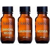 NAWAB Essential Aroma Diffuser Oil(Jasmine,Sandalwood,Mogra-15ml Each)