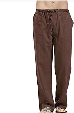 Mens Linen Trousers with Drawstring Pockets Loose Lightweight Yoga Pants Comfy Beach Casual Lounge Bottoms
