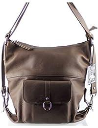 Olivia - 2 EN 1 Sac à main Sac à dos en cuir de vachette N1263 Marron/Taupe Achat/cadeau utile - Marron, Cuir