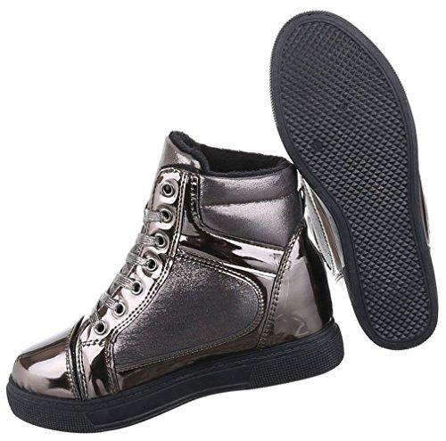 Damen Boots Schuhe Keil Wedges Schnür Stiefeletten Schwarz Braun 36 37 38 39 40 41 Bronze