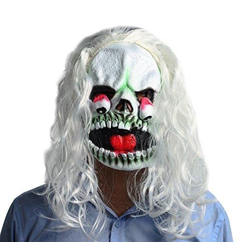 WYDM Weißhaarige Gesichtsmaske Horror Halloween Drop Augenmaske Scary Perücke Latex Tanzshow Dress Up ()