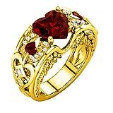 Schmuck Damen-Ring, Dragon868 Silber natürliche Rubin Edelsteine Birthstone Braut Hochzeit Engagement Herz Ring (7, Rot)