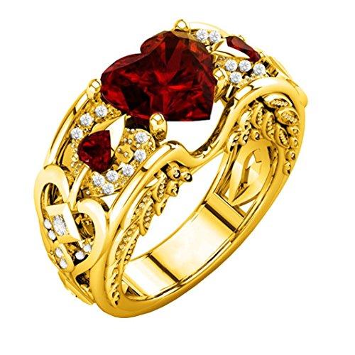 Schmuck Damen-Ring, Dragon868 Silber natürliche Rubin Edelsteine Birthstone Braut Hochzeit Engagement Herz Ring (8, Rot) (Braut-Öse)