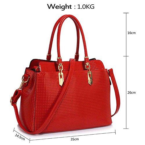 TrendStar Damen-Taschen-Tasche Schultertasche Promi-Art-Frauen Entwerfer Poliertes Hardware Faux Leder Rot