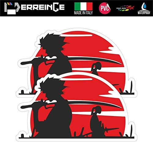 erreinge Sticker x2 Giappone Samurai Anime Manga Adesivo Sagomato in PVC per Decalcomania Parete Murale Auto Moto Casco Camper Laptop - cm 35