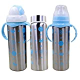 #2: chhote saheb 3 in 1 Multifunctional 240ml Baby Steel Feeding Bottle Blue (Color May Vary)