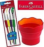 Faber-Castell Wasserbecher CLIC & GO, faltbar / Kombi-Set (Becher + Pinselset, brombeer)