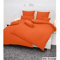 Janine Bettwäsche PIANO 0125, Gr. 200x200 cm, Fb. 54 orange, Mako-Soft-Seersucker
