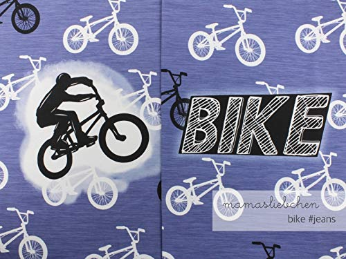 Mamasliebchen Jersey-Stoff Bike #Jeans (1Panel, ca 0,65m) Fahrrad Bike Panel