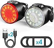 Luces Bicicleta, Luces Delanteras y Traseras Recargables USB Para Bicicleta, Impermeable LED Luz Bicicleta, 6