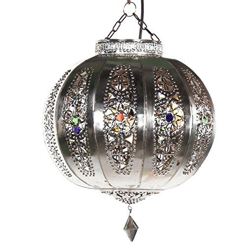 albena Marokko Galerie 13-166 Yali pantalla marroquí lámpara de techo orientales ø 26cm bola metal plata