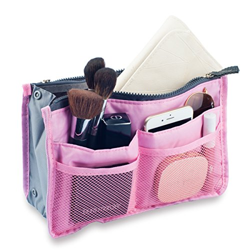 - 51fDwftnLSL - Hee Grand Women's Handbag Organiser Liner Tidy Travel Cosmetic Pocket Insert 12 Pockets Large Pink
