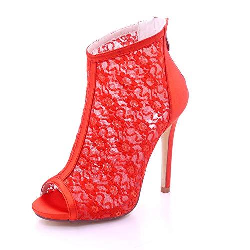 MNVOA Brautschuhe rund um die Zehen mit 11.5cms/4.5 ' ' Stiletto Back Zipper Ankle ()