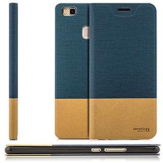 zanasta Tasche kompatibel mit Huawei P9 Lite (VNS-L31) mit Kartenfach Hülle Flip Case Slim Schutzhülle Handytasche, Standfunktion | Blau