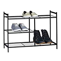Relaxdays Shoe Rack Sandra with 3 Shelves, Metal Shoe Storage with Boot Shelf, Size: 50.5 x 70 x 26 cm, For 8 Pairs of Shoes, with Handles, Black, Metal