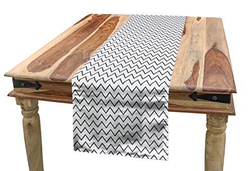 ABAKUHAUS Modern Tischläufer, Zickzack-Chevron-Wellen, Esszimmer Küche Rechteckiger Dekorativer Tischläufer, 40 x 300 cm, Weiß Grau