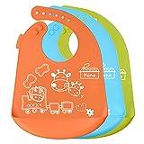 Baby Lätzchen Silikon Wasserdichte PLUIESOLEIL Lätzchen Mit Auffangschale Silikon, Silikon-Lätzchen Abwaschbar für Babys/Kleinkinder/Mädchen/Jungen, Satz aus 3 Farben